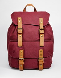 Asos Smart Canvas Backpack In Burgundy Red