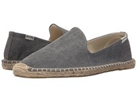 Soludos Smoking Slipper Washed Canvas Dark Gray Men's Slippers