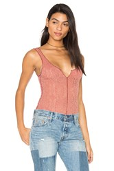 Free People Grmt Dye Pucker Lace Notch Cami Rust
