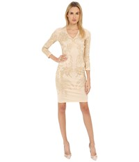 Just Cavalli Studded Long Sleeve Jersey Champagne Women's Dress Gold