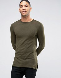 Asos Muscle Fit Jumper With Side Zips In Khaki Khaki Green