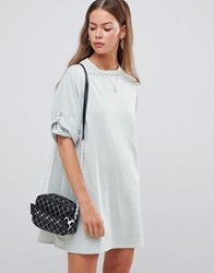 Boohoo Roll Sleeve Smock Dress In Sage Green