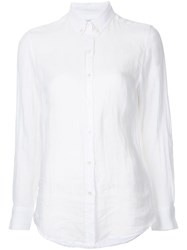 Venroy Button Down Semi Sheer Shirt Women Linen Flax M White