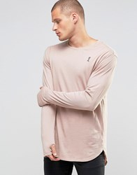 Religion Long Sleeve Longline Top With Thumb Hole Detail New Pink