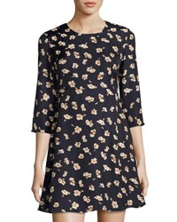 Goldie London Hazy Days Floral Print Fit And Flare Dress Blue
