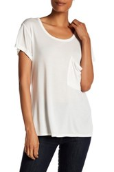 Haute Hippie Solid Rolled Pocket Tee White