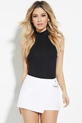 Forever 21 Asymmetrical D Ring Skort Cream
