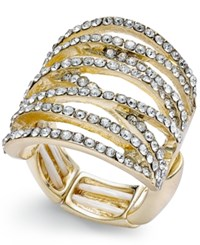 Thalia Sodi Pave Crisscross Statement Stretch Ring Only At Macy's Gold