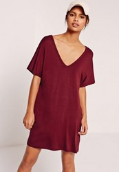 Missguided Burgundy Oversized Wide V Neck T Shirt Dress