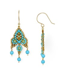 Miguel Ases Small Beaded Drop Earrings Blue