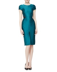 J. Mendel Cap Sleeve Leather Inset Day Dress Jade