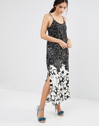 Daisy Street A Line Maxi Dress In Mono Illustrated Floral Print Black White