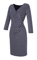 Grace Made In Britain Spot Dress Navy