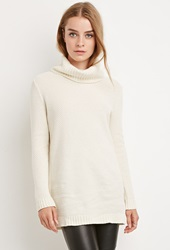 Forever 21 Chunky Knit Turtleneck Sweater Cream