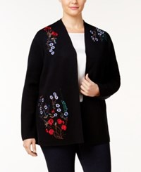 Charter Club Plus Size Embroidered Floral Cardigan Created For Macy's Deep Black