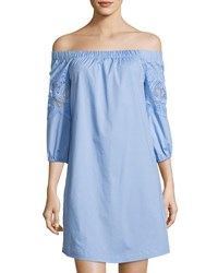 Neiman Marcus Off The Shoulder Lace Trim Dress Blue