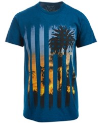 Univibe Flag Palm Tree Graphic Print T Shirt Ocean Teal