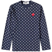 Comme Des Garcons Play Long Sleeve Polka Dot Tee Blue