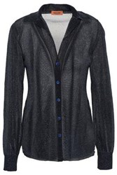Missoni Woman Metallic Crochet Knit Shirt Black