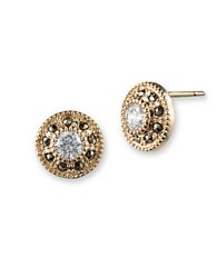 Judith Jack Sterling Silver Cubic Zirconia And Marcasite Button Stud Earrings Gold