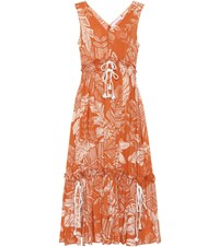 See By Chloe Sleeveless Printed Cotton Dress Brown