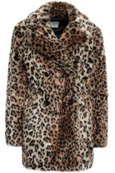 Joie Woman Double Breasted Leopard Print Faux Fur Coat Animal Print