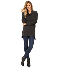 Mod O Doc Luxe Heather Sweater Slouchy Funnel Neck Pullover Black Heather Women's Sweater