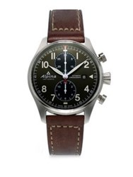 Alpina Sapphire Crystal Leather Strap Watch Brown