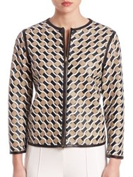 Escada Leather Weave Print Jacket Sand Dune