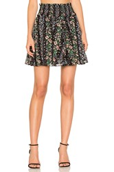 Needle And Thread Floral Stripe Skirt Black