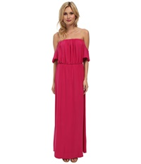 Tbags Los Angeles Cutout Sleeves Off Shoulder Waisted Maxi Dress Fuchsia Women's Dress Pink