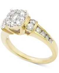 Macy's Diamond Cluster Engagement Ring 1 Ct. T.W. In 14K Gold Yellow Gold