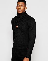Blend Of America Blend Roll Neck Jumper Drawstring Heavy Cable Knit Black