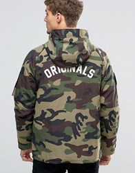 Jack And Jones Hooded Camo Parka With Back Print Camo Green