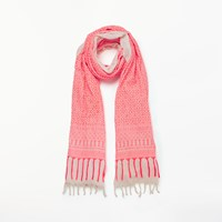 And Or Jacquard Tile Cotton Scarf Coral Mix