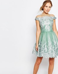 Chi Chi London Off Shoulder Mini Prom Dress With Embroidered Lace Sage Green