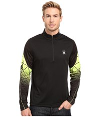 Spyder Webstrong Dry W.E.B. T Neck Top Black Bryte Yellow Black Men's Long Sleeve Pullover