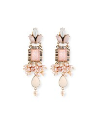 Sequin Mixed Crystal Statement Earrings Pink