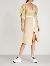 Moandco. Ruched Sleeve Cotton Blend Wrap Dress Sand