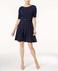 Charter Club Petite Belted Dot Print Fit And Flare Dress Created For Macy's Intrepid Blue