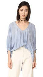 Free People Catch Me If You Can Blouse Blue