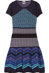 M Missoni Crochet Knit Mini Dress Blue