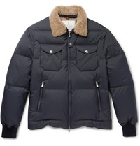 Brunello Cucinelli Shearling Trimmed Quilted Shell Jacket Navy