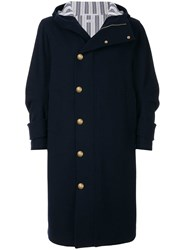 Thom Browne Articulated Melton Wool Hooded Overcoat Blue