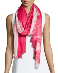 Neiman Marcus Sparkly Ombre Fringe Scarf Coral