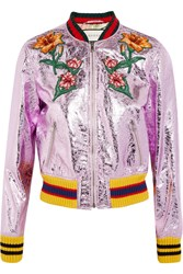 Gucci Appliqued Metallic Textured Leather Bomber Jacket Lilac Metallic