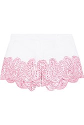 Michael Michael Kors Broderie Anglaise Linen Shorts White Pink