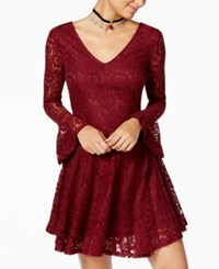 American Rag Juniors' Lace Fit And Flare Dress Created For Macy's Red