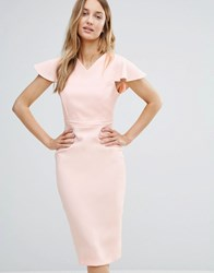 Vesper Midi Pencil Dress With Structured Shoulders Pink