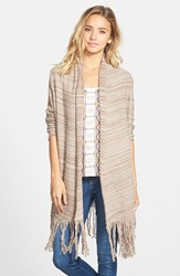 Junior Women's Sun And Shadow Marled Blanket Cardigan Brown Bark Milly Marl